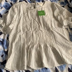 Kate spade silk black and white polka dot blouse M
